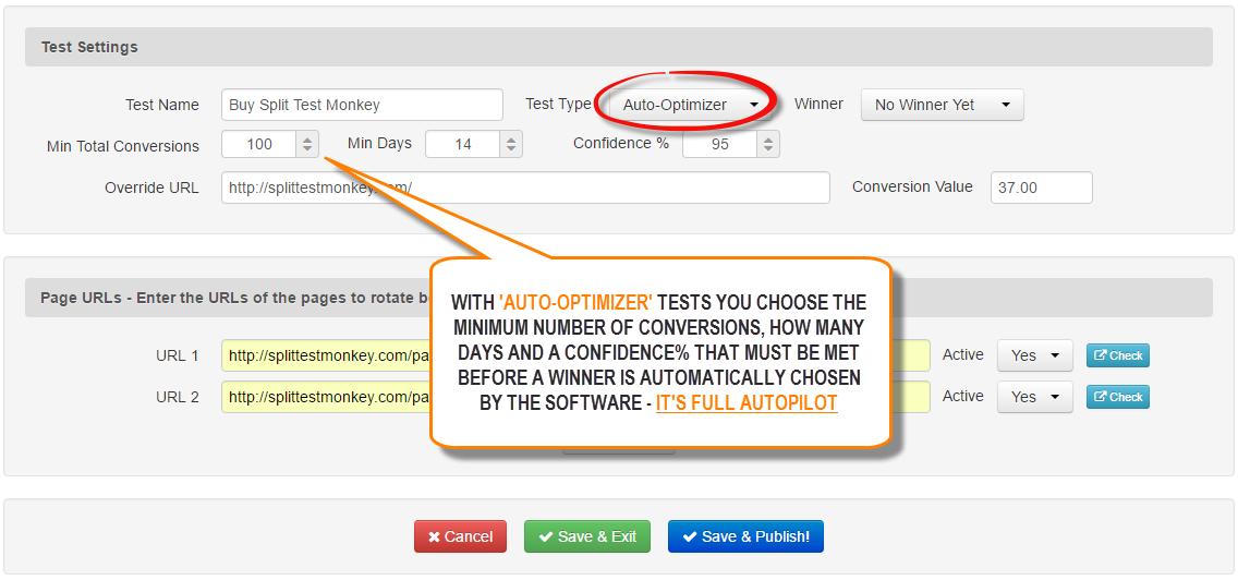 Auto Optimizing Split Tests